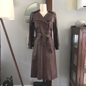 Vintage Leather Trench Coat in Chocolate Brown